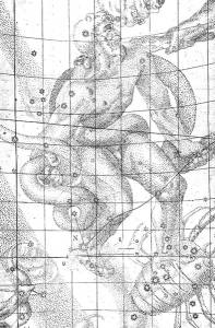 The location of the stella nova, in the foot of Ophiuchus, is marked with an N (8 grid squares down, 4 over from the left).