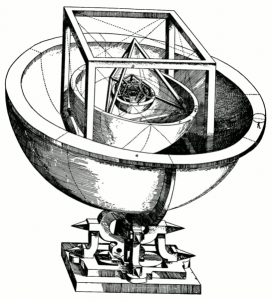 Kepler's Platonic solid model of the Solar system from Mysterium Cosmographicum (1600)